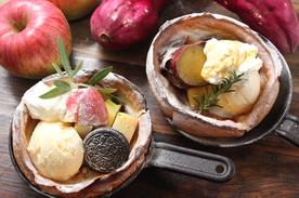 【新メニュー】お得なスキレットパンケーキSET【鳴門金時VS.焼林檎】