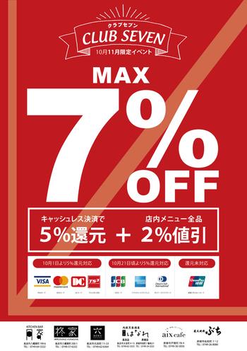 【MAX7%OFF】キャッシュレス決済でお得に【長浜イタリアン月家】